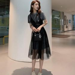 IMStyle 長T亮片吊帶裙兩件式套裝 (2色-黑色、銀色)