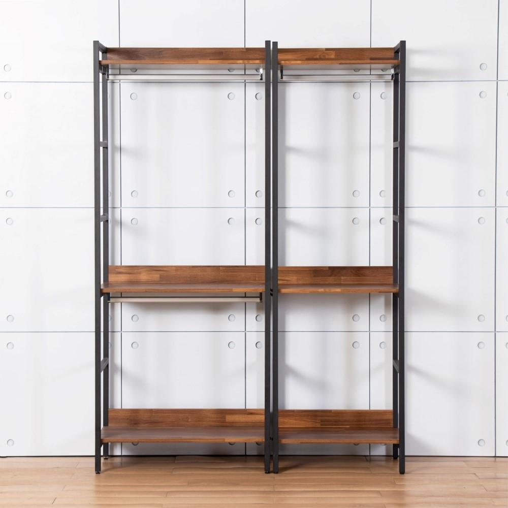 D&T德泰傢俱 格萊斯積層木工業風4.6尺雙吊+單吊多功能衣櫃-140x44x196cm