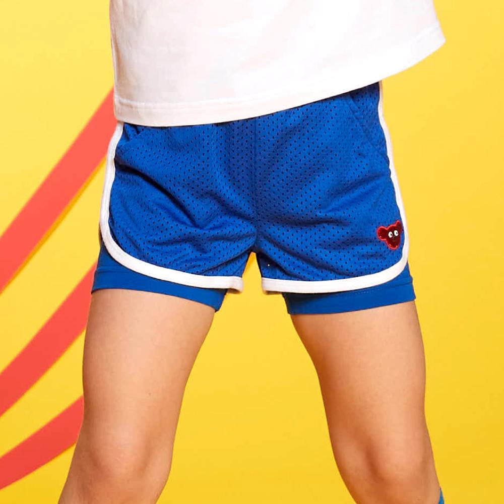 WHY AND 1/2 假兩件運動透氣網短褲 多色可選 11Y ~ 14Y以上 (藍色)