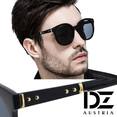 DZ 都會工業元素 抗UV 防曬太陽眼鏡造型墨鏡(黑框灰片)