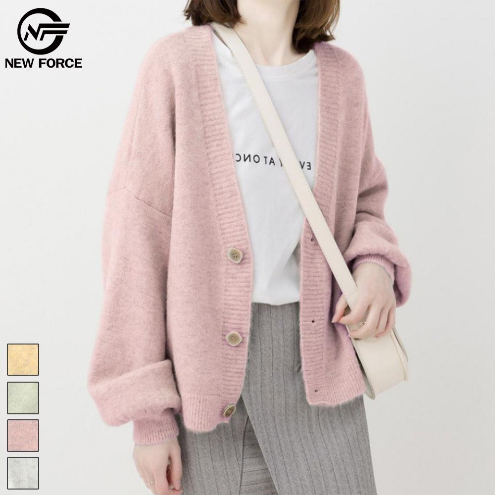 NEW FORCE 暖色系質感針織外套-少女粉
