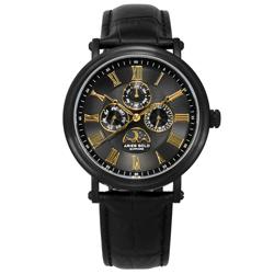 ARIES GOLD 日月相錶 羅馬時標 藍寶石水晶玻璃 真皮手錶-黑金色/43mm