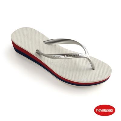 Havaianas哈瓦仕 拖鞋 厚底 夾腳拖 人字拖 巴西 女鞋 象牙白/銀 4001030-2944W Sandalias  High Light