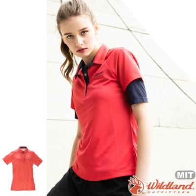 Wildland 荒野 0A71605-13橘紅色 女涼感本布領短袖POLO衫