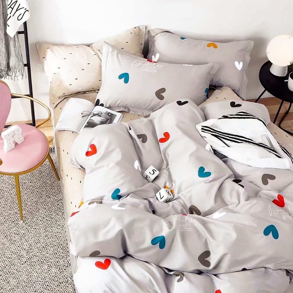 A-ONE 100%純棉-單人床包/枕套組-祝福 台灣製