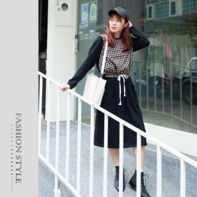 2F韓衣-簡約格紋拼接MIT縮腰洋裝-2色(F)