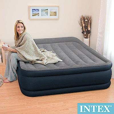 INTEX 豪華三層圍邊-雙人加大充氣床-寬152cm(內建電動幫浦)-灰色(64135)