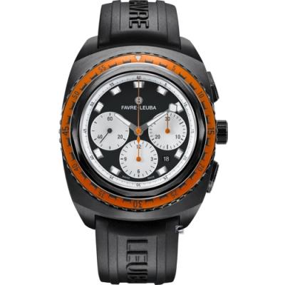 Favre-Leuba域峰表RAIDER系列SEA SKY腕錶-黑錶殼x黑膠帶/44mm