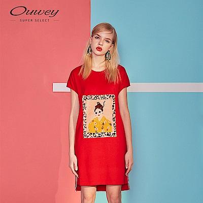 OUWEY歐薇 人像豹紋絨布燙畫休閒洋裝(紅)