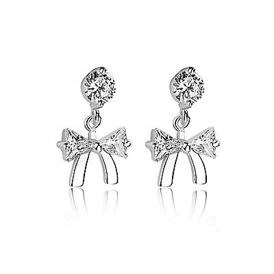 米蘭精品 925純銀耳環-鑲鑽蝴蝶結耳環