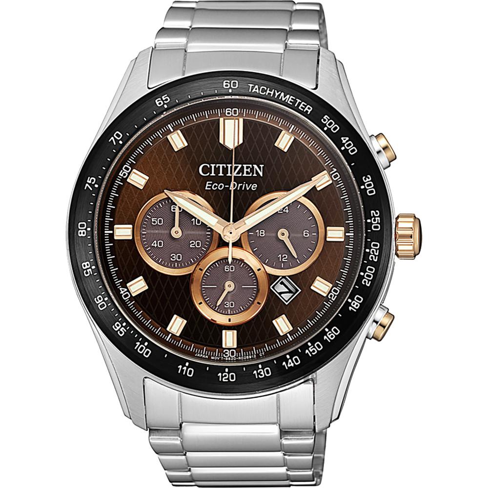 CITIZEN 星辰 亞洲限定光動能計時手錶-咖啡x銀/43mm(CA4456-83X)