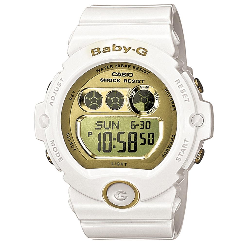 BABY-G 閃耀光澤行動派甜心休閒數位錶(BG-6901-7)-迷人金x白/45mm