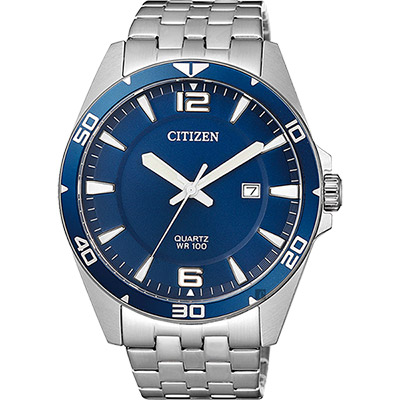 CITIZEN 星辰 時尚紳士石英錶-藍x銀/42mm(BI5058-52L)