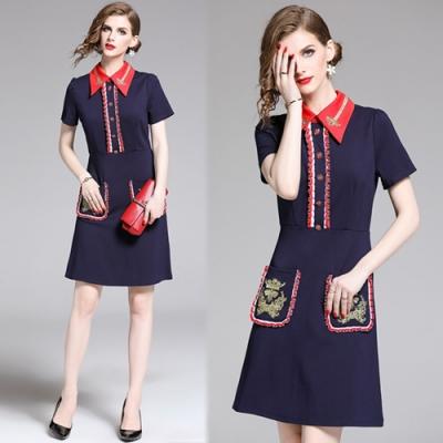 【KEITH-WILL】優雅經典潮流刺繡拼色翻領洋裝