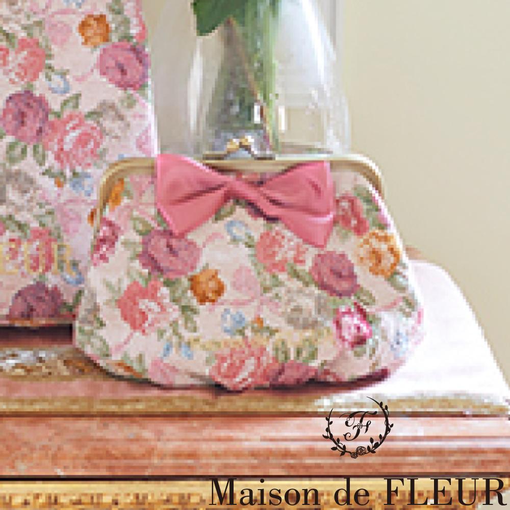 Maison de FLEUR  浪漫玫瑰花蝴蝶結緞帶包包