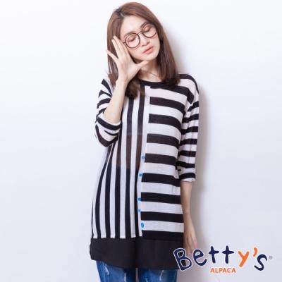 betty's貝蒂思 縱橫條紋彈性透膚針織線衫(黑色)