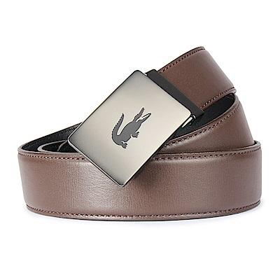 LACOSTE 經典LOGO金屬皮革夾式皮帶-咖啡色