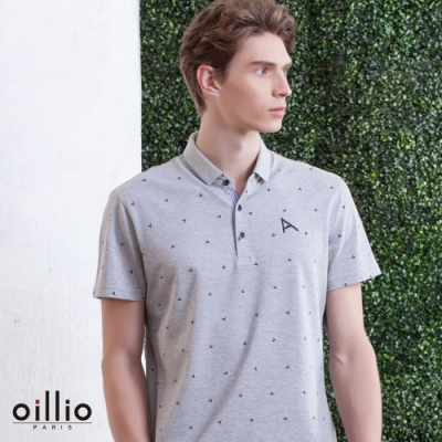 oillio歐洲貴族 柔順抗皺質感POLO 短袖滿版刺繡設計 灰色