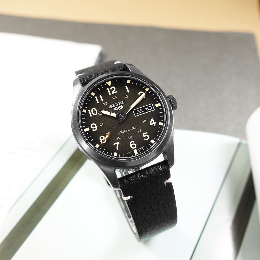 SEIKO 精工 5 Sports 機械錶 數字刻度 星期日期 壓紋牛皮手錶手錶-煤灰色x黑/39mm