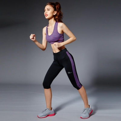 【V.TEAM】 神秘魅力彩條時尚機能運動內衣背心-紫黑條