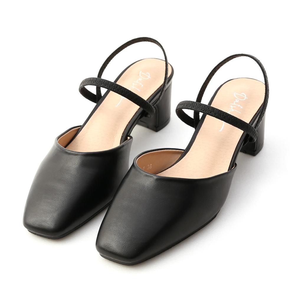 D+AF 仙女日常.方頭細帶二穿後空跟鞋*黑
