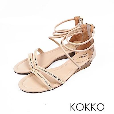 KOKKO - 羅馬假期旅行真皮細帶平底涼鞋 - 迷人杏