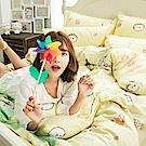 戀家小舖 / 雙人床包枕套組  麻吉貓野餐派對-兩色可選  100%精梳棉  台灣製