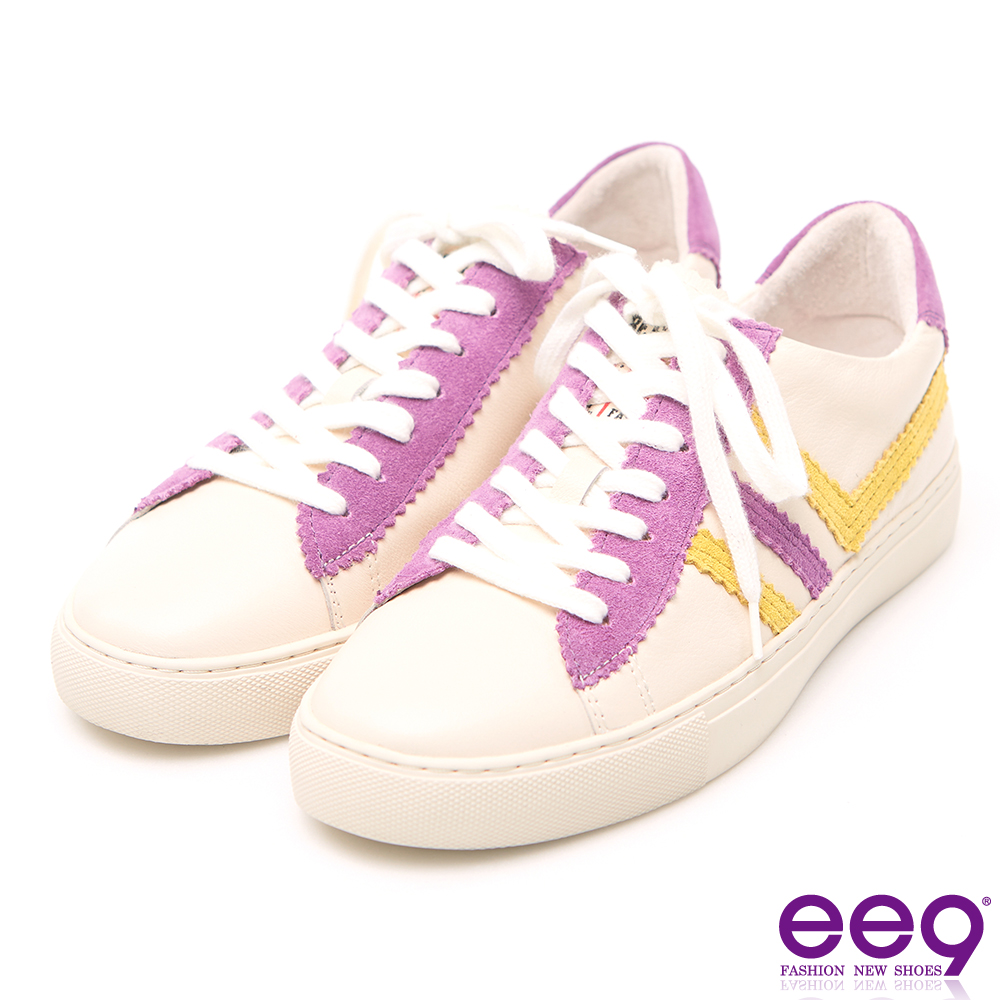 ee9 潮流質感異材質併接綁帶平底休閒鞋 紫色