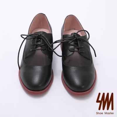 MK-圓頭簡約網紗透膚綁帶牛津鞋