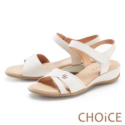 CHOiCE 細緻牛皮造型厚底 女 涼鞋 白色
