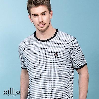 歐洲貴族oillio 短袖T恤 滿版方格 超柔布料 灰色