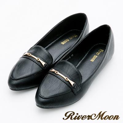 River&Moon大尺碼-城市輕奢尖頭平底樂福休閒鞋-黑