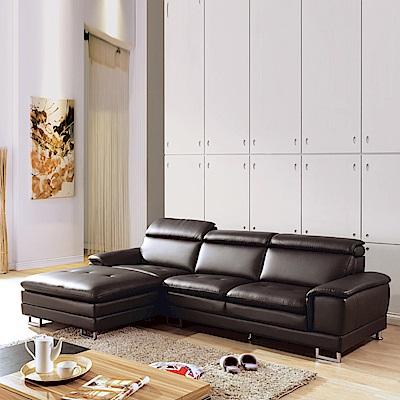 AS-羅德右L型咖啡皮沙發
