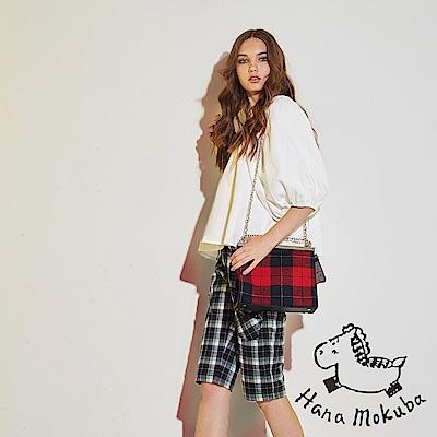 Hana+花木馬 英式格紋撞色印花時尚休閒棉製膝上造型五分馬褲-藍綠(共2色)