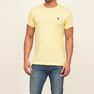麋鹿 AF A&F 經典電繡麋鹿標誌素面短袖T恤-黃色