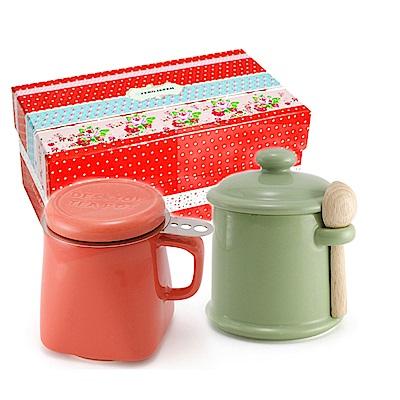 ZERO JAPAN 陶瓷儲物罐(大地綠) 泡茶馬克杯(蘿蔔紅)超值禮盒組