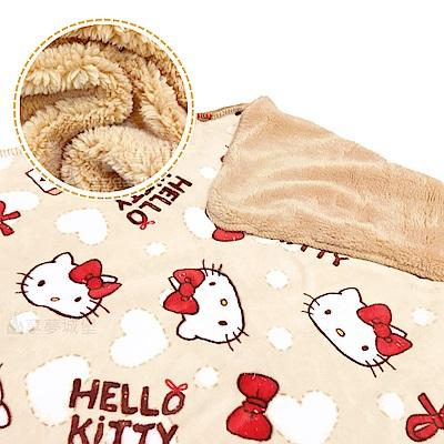 享夢城堡 法蘭絨羊羔絨毯70x120cm-HELLO KITTY 蝴蝶結-米