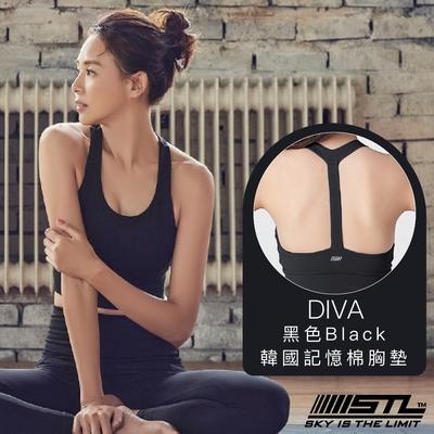 STL Yoga Bra Crop Top Divas 韓國瑜珈 高度支撐訓練 運動機能內衣/短版上衣(含專利胸墊) 愛娃黑色Black