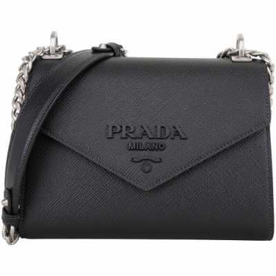 PRADA Monochrome Saffiano 字母徽標防刮牛皮肩背包(黑色)