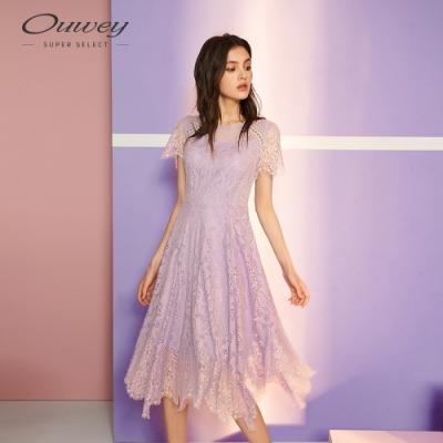 OUWEY歐薇 微縷空睫毛蕾絲縫飾洋裝(紫)
