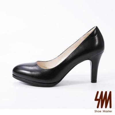 SM-簡約羊皮粉領厚底高跟淑女鞋(2色)