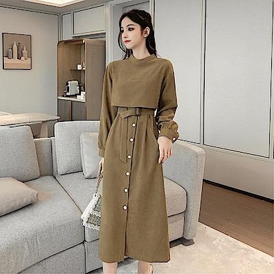 DABI 韓國風名媛純色圓領修身優雅長版長袖洋裝