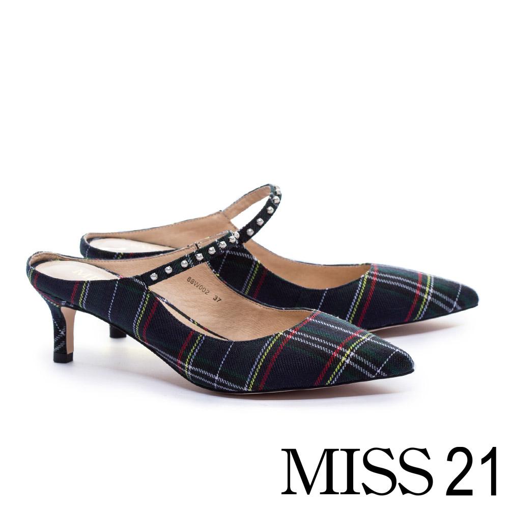 高跟鞋 MISS 21 經典優雅奢華珍珠點綴尖頭繫帶高跟鞋-格紋 @ Y!購物