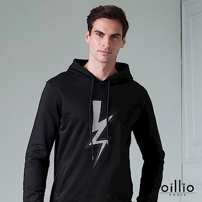 歐洲貴族 oillio 長袖帽T 閃電圖樣 雙口袋設計 黑色