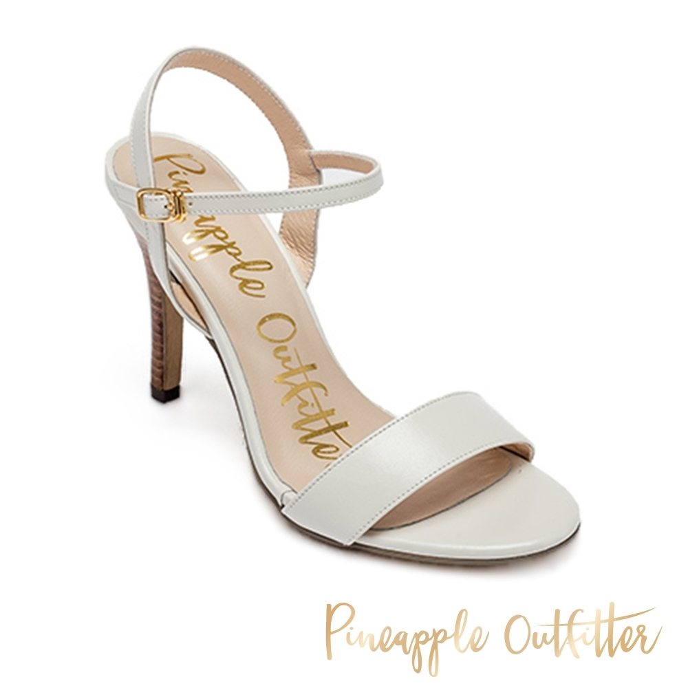 Pineapple Outfitter 氣質牛皮一字帶細高跟涼鞋-白色