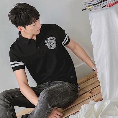 刺繡徽章造型條紋滾邊短袖POLO衫-OB大尺碼