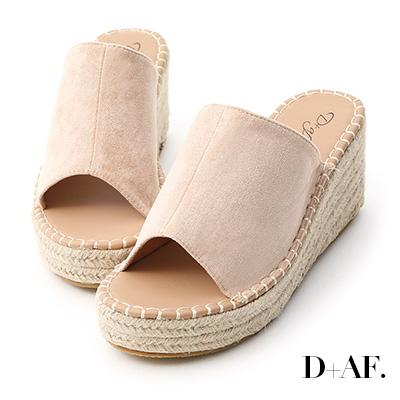 D+AF 仲夏魅力.一字寬版草編楔型拖鞋*杏