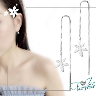 iSFairytale伊飾童話 潔白楓葉 銅電鍍銀長流蘇耳環