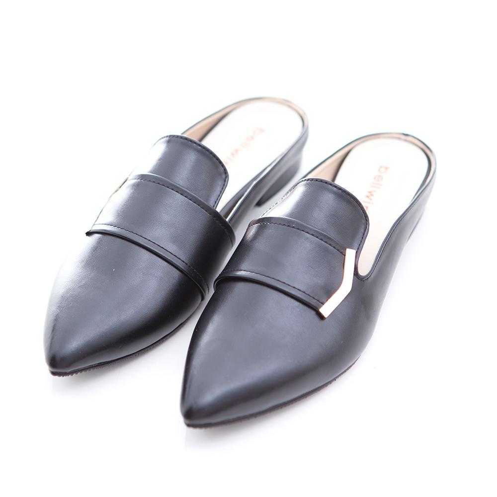 bellwink-金屬亮面皮尖頭拖鞋-黑-b1011bk