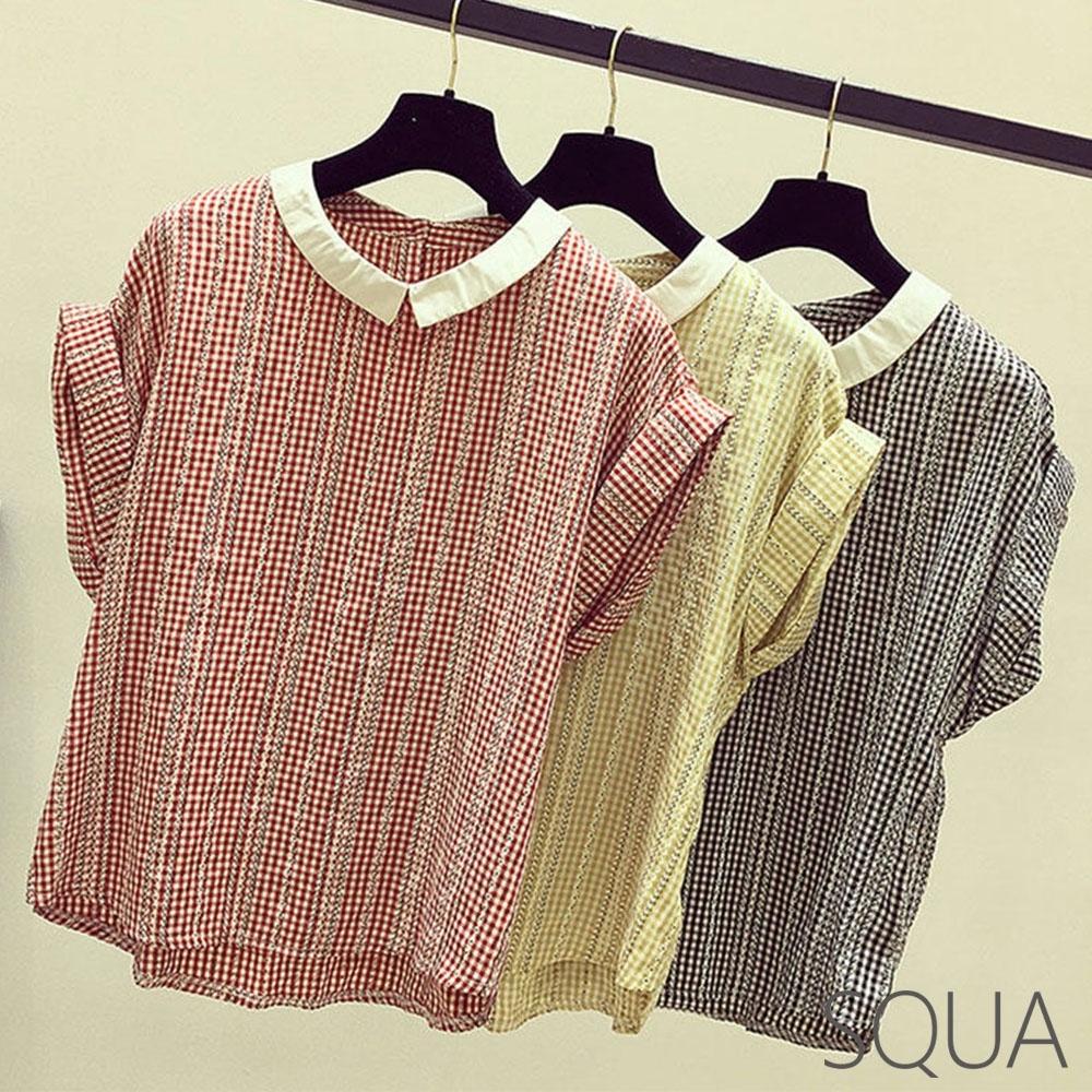 SQUA 翻領格紋反摺袖上衣-三色-(M~XL)